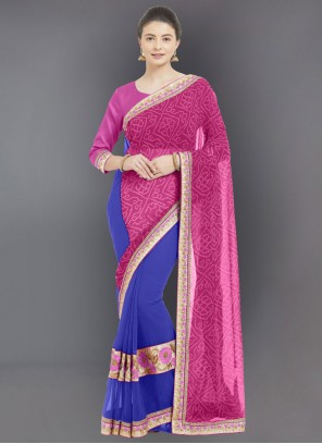 Pink Embroidered Faux Georgette Casual Saree