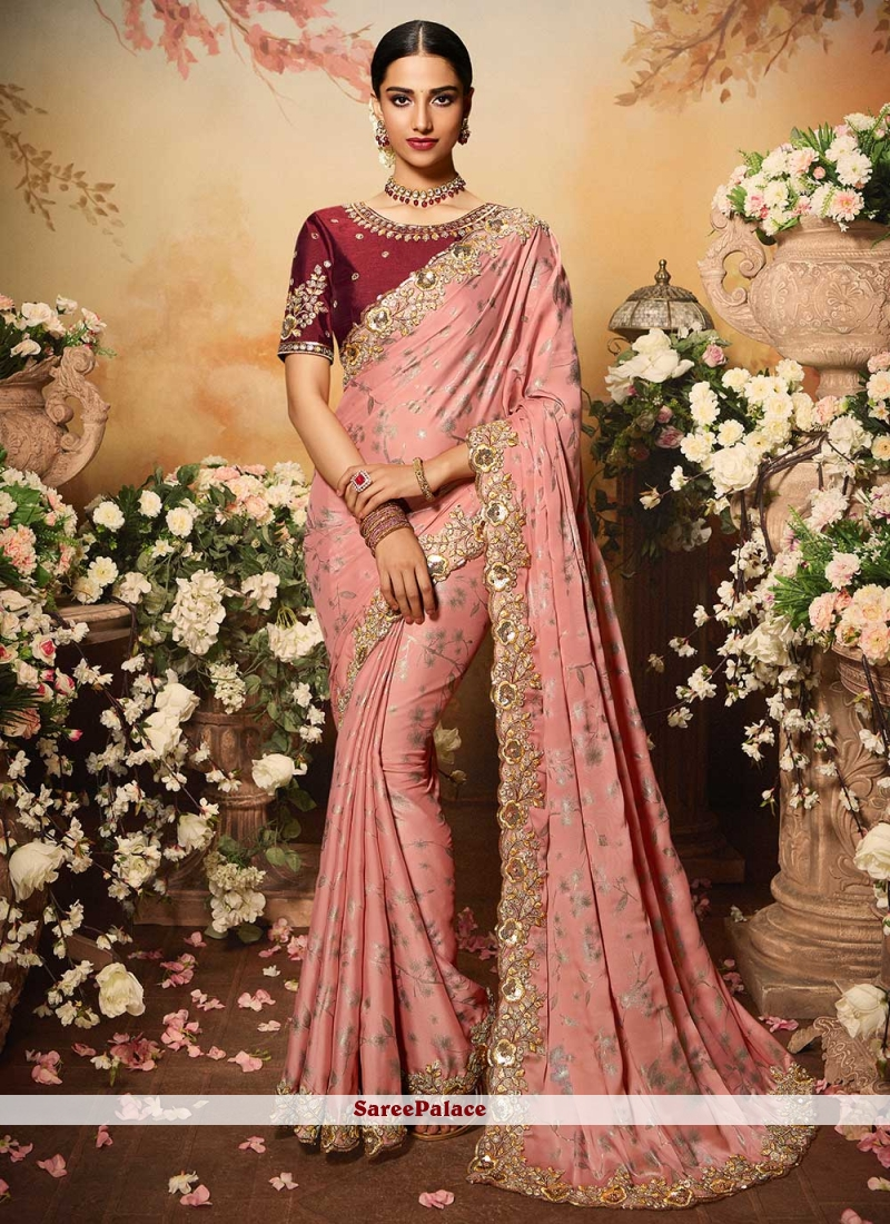 Pink Embroidered Faux Georgette Designer Traditional Saree