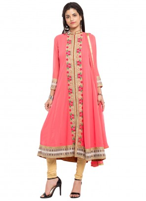 Pink Embroidered Faux Georgette Readymade Anarkali Salwar Suit