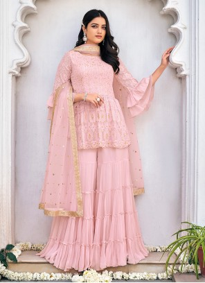 Pink Embroidered Faux Georgette Readymade Suit