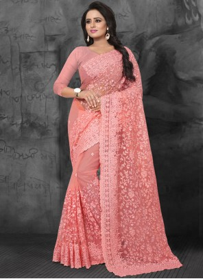 Pink Embroidered Festival Classic Saree