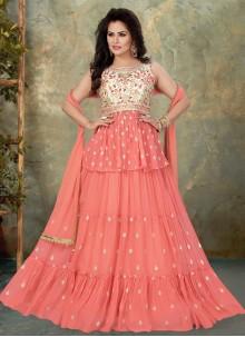 Pink Embroidered Festival Floor Length Anarkali Suit