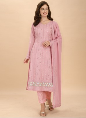 Pink Embroidered Festival Pant Style Suit