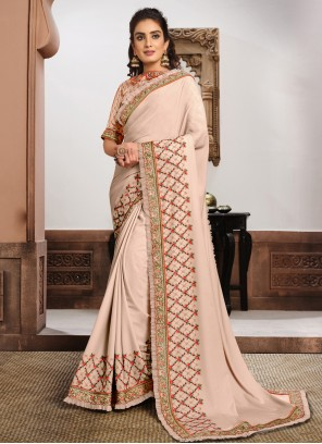 Pink Embroidered Georgette Classic Saree