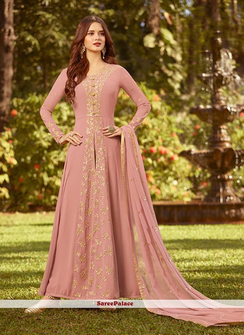 Pink Embroidered Georgette Designer Salwar Suit