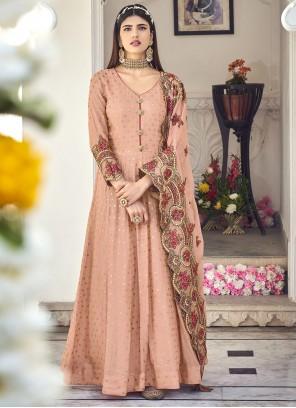 Pink Embroidered Georgette Floor Length Anarkali Salwar Suit