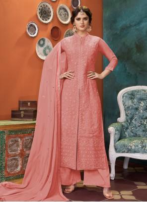 Pink Embroidered Georgette Salwar Suit
