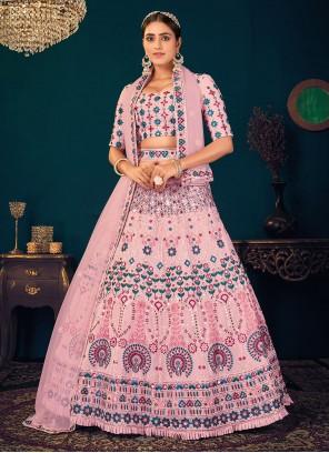 Pink Embroidered Georgette Trendy Lehenga Choli