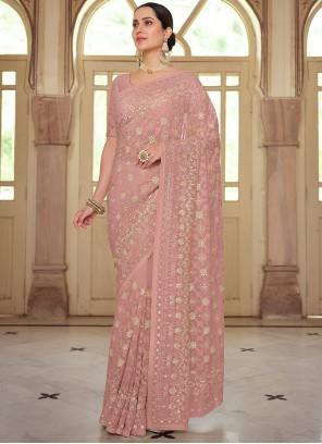 Pink Embroidered Georgette Trendy Saree