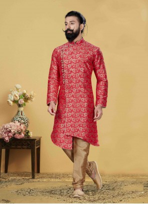 Pink Embroidered Jacquard Silk Indo Western