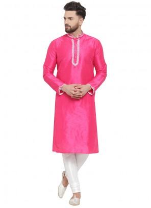 Pink Embroidered Kurta Pyjama