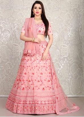 Pink Embroidered Lehenga Choli