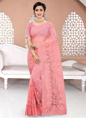 Pink Embroidered Net Classic Designer Saree