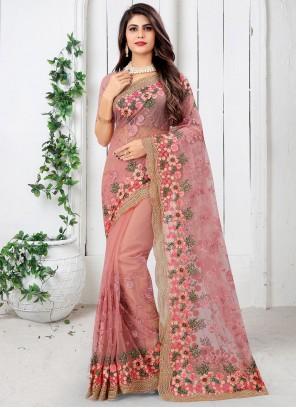 Pink Embroidered Net Designer Saree