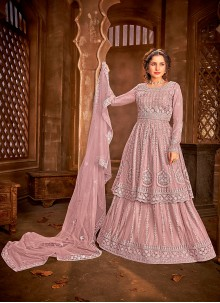 Pink Embroidered Net Long Choli Lehenga