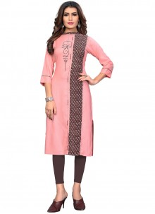 Pink Embroidered Rayon Party Wear Kurti