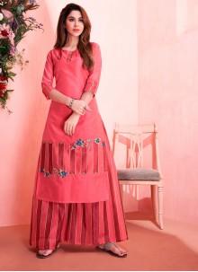 Pink Embroidered Readymade Designer Salwar Suit