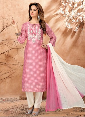 Pink Embroidered Readymade Suit