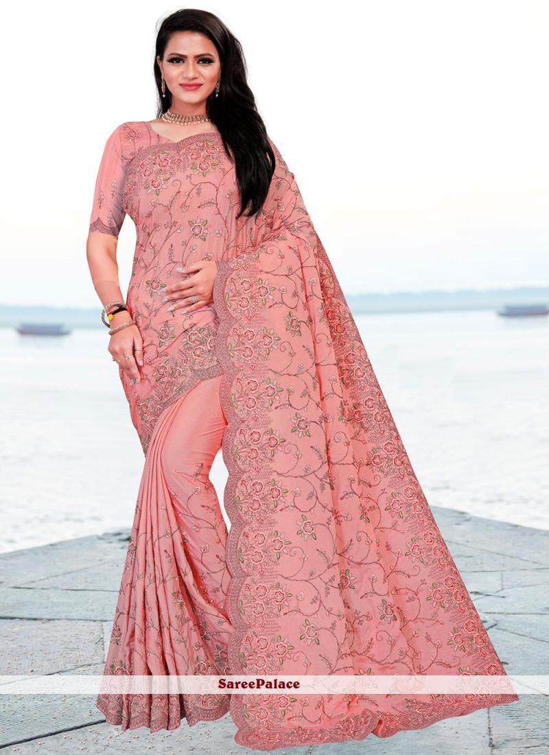 Pink Embroidered Sangeet Classic Designer Saree