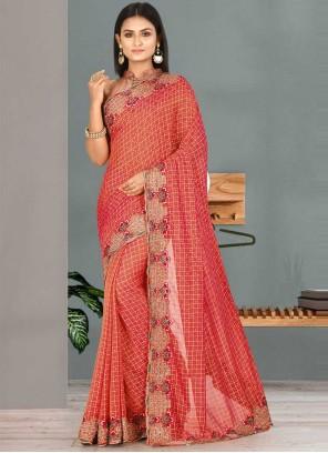 Pink Embroidered Satin Silk Classic Designer Saree