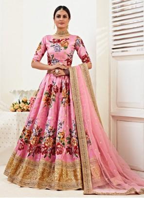 Pink Embroidered Satin Silk Lehenga Choli