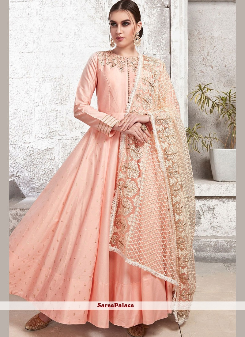 Pink Embroidered Satin Trendy Gown