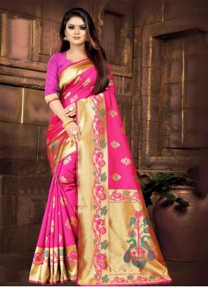 Pink Embroidered Silk Designer Saree