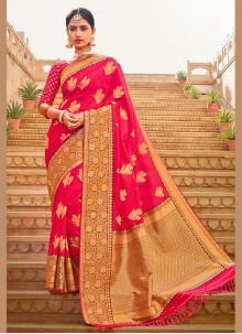 Pink Embroidered Silk Saree