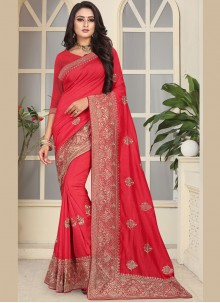 Pink Embroidered Traditional Designer Saree