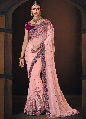 Pink Embroidered Traditional Saree