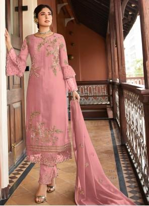 Pink Embroidered Trendy Salwar Kameez