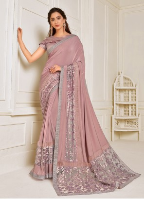 Pink Embroidered Trendy Saree