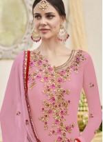 Pink Embroidered Work Designer Straight Suit