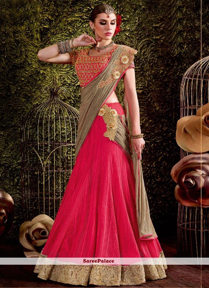 Pink Embroidered Work Net Lehenga Saree