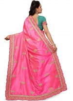 Pink Embroidered Work Silk Traditional  Saree