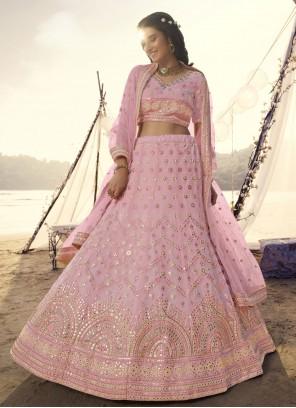 Pink Engagement Organza Lehenga Choli