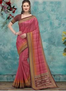 Pink Fancy Work Designer Traditional Saree