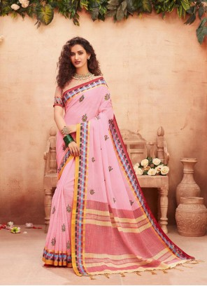 Pink Fancy Fabric Print Classic Designer Saree