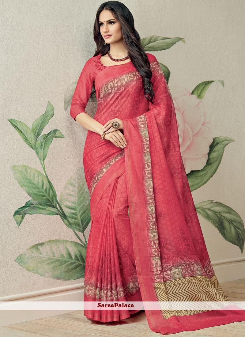 Pink Fancy Fabric Printed Saree
