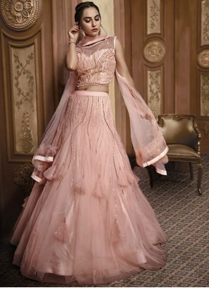 Pink Fancy Fabric Reception Designer Lehenga Choli
