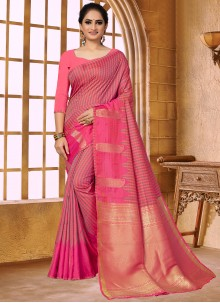 Pink Fancy Fabric Weaving Traditional Saree