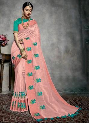 Pink Fancy Silk Classic Designer Saree
