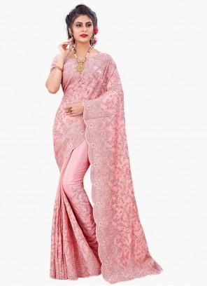 Pink Faux Chiffon Resham Designer Saree
