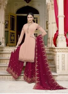 Pink Faux Georgette Ceremonial Designer Pakistani Suit