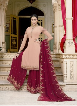 Pink Faux Georgette Ceremonial Designer Pakistani Suit