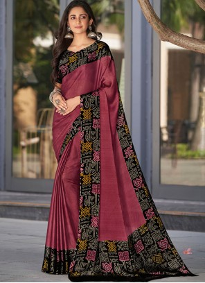 Pink Faux Georgette Classic Saree
