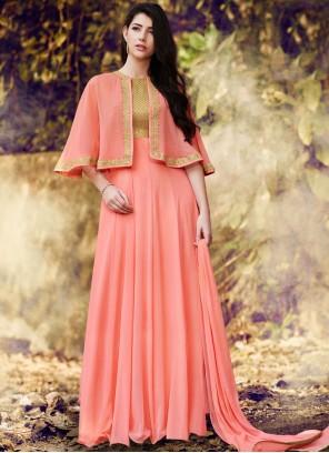 Pink Faux Georgette Designer Floor Length Suit