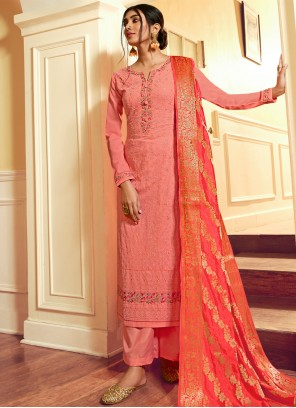 Pink Faux Georgette Embroidered Designer Palazzo Suit