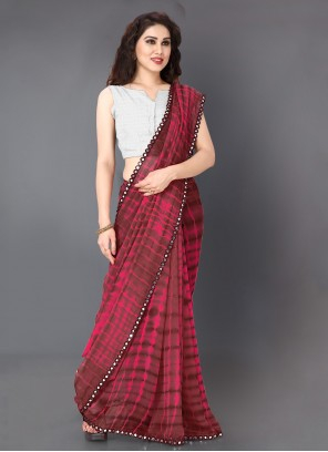 Pink Faux Georgette Printed Classic Saree