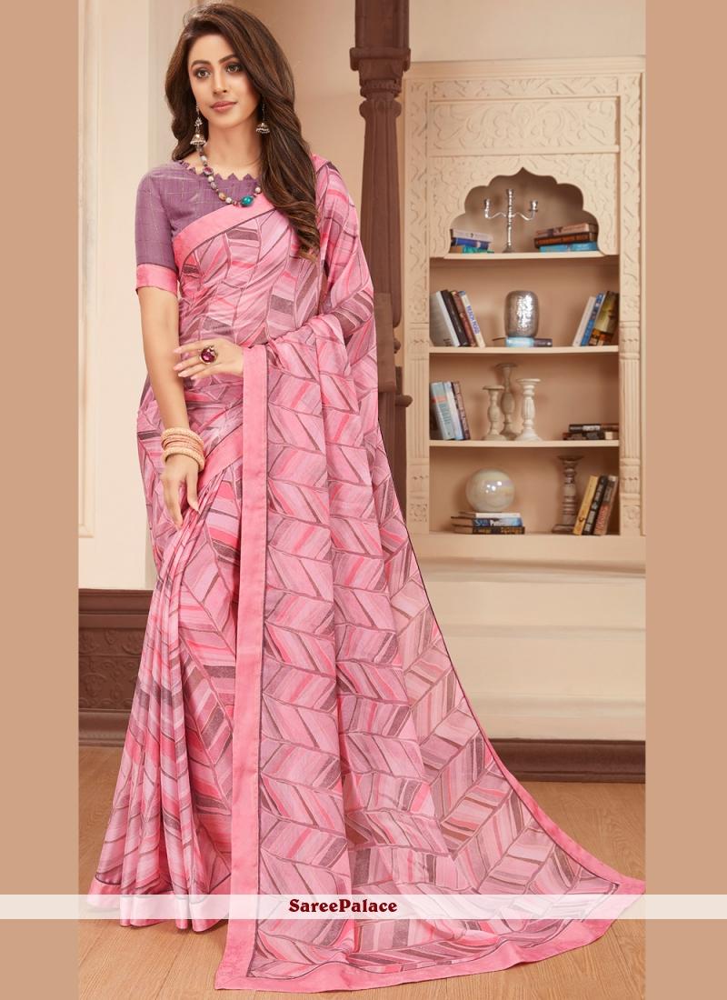 Pink Faux Georgette Printed Saree